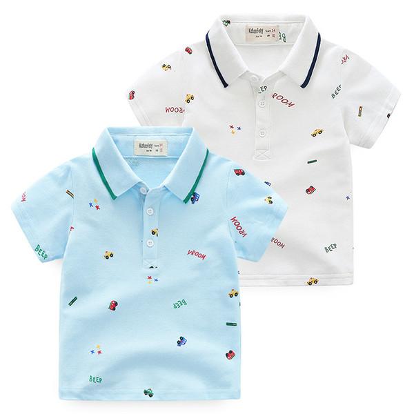 2019 verão versão coreana da marca boutique de roupas infantis impressão infantil bonito dos desenhos animados de manga curta T-shirt polo camisa