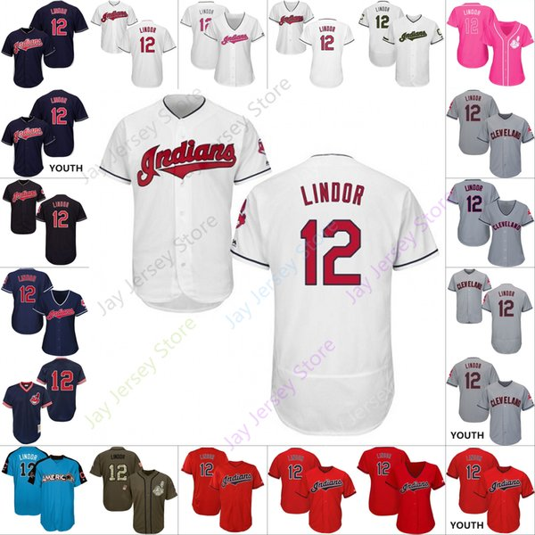 e0429358297 Custom Cleveland 12 Francisco Lindor Jersey Indians Jerseys Cooperstown Cool  Base Flexbase White Black Red Grey