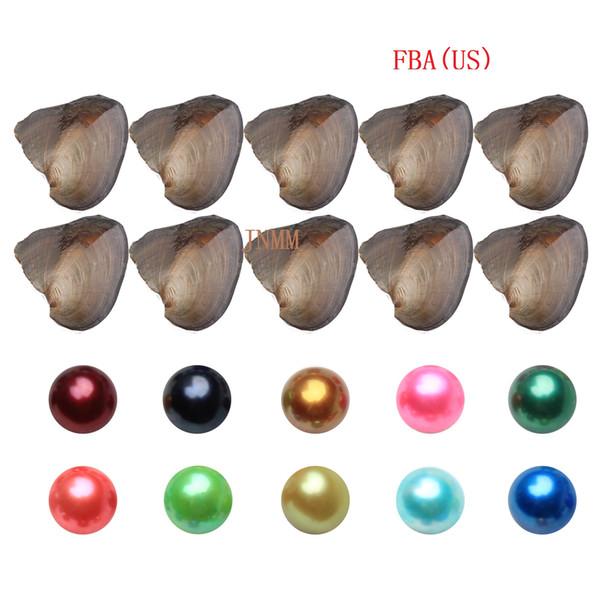 JNMM 10PCS / Lot Oyster perla d'acqua dolce con singola rotonda perla 7-8mm buon grado colori misti fai da te perline gioielli per bambini regalo del partito fba