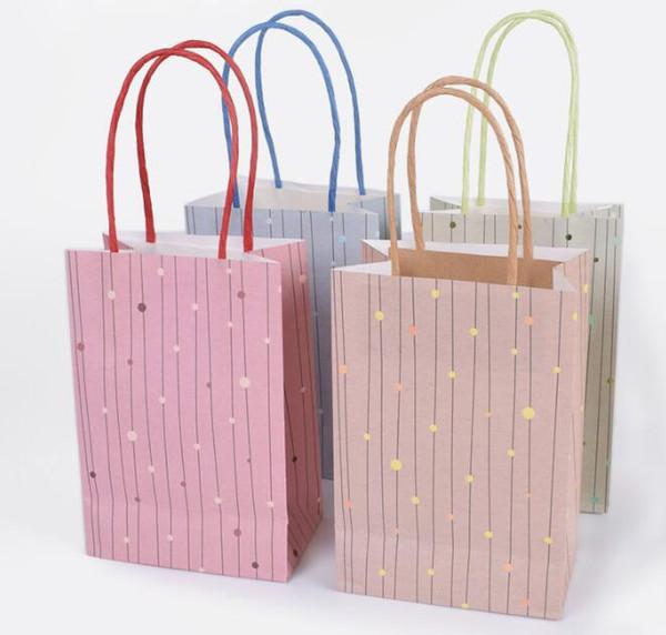 Foil Dot Gift Bag with Handle Kraft Paper Gift Bag Festival gift bags DIY multifunction shopping bags