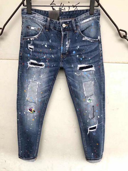 SS19 Mens Brand DQ872-1 Biker MEN JENANS Fashion Slim Skinny Jeans High Quality Cotton Jeans Mens Bell Bottom Pants
