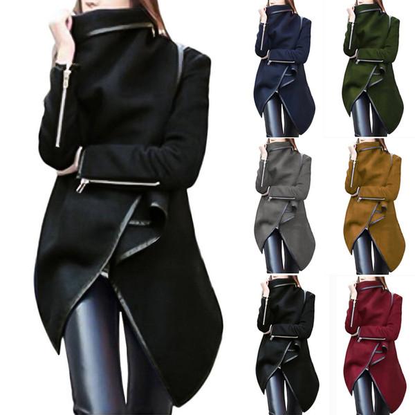Hot Sale Women irregular Bow Zipper Long Sleeve Warm Coat New Fashion Winter Wool Long Jackets Parka Black Windbreaker For Lady