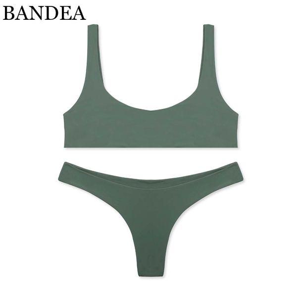 Bandea Brand Bikini Set Sexy Swimsuit Women Solid Sport Bikini Brazilian Swimwear Thong Bikini Trajes De Bano Women Km055 Y19062901