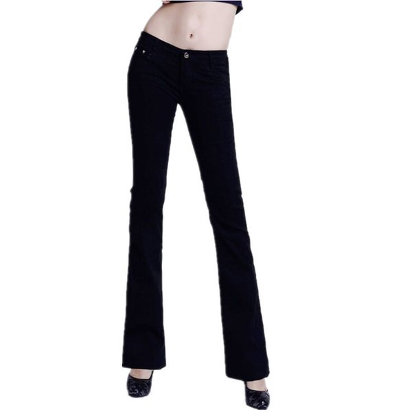 2019 Slim Women Jeans Casual Mid Waist Elastic Candy 10color Denim Flare Pants Trousers Woman Bell Bottom Trouser Y190429