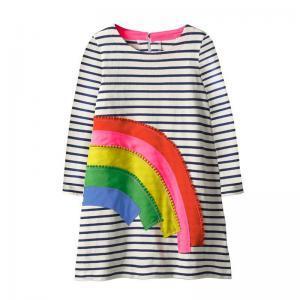 Baby Girl Stripe Dresses Children Long Sleeve Cloth Kids Dress Christmas Gift Girls Long Sleeve Princess Dress LJJW139