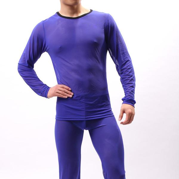Yeni Moda Erkek Seksi Şeffaf Tül Fanila Utra-ince O-Boyun See Through Mesh Uzun Kollu Spor T Gömlek Erkekler Tees