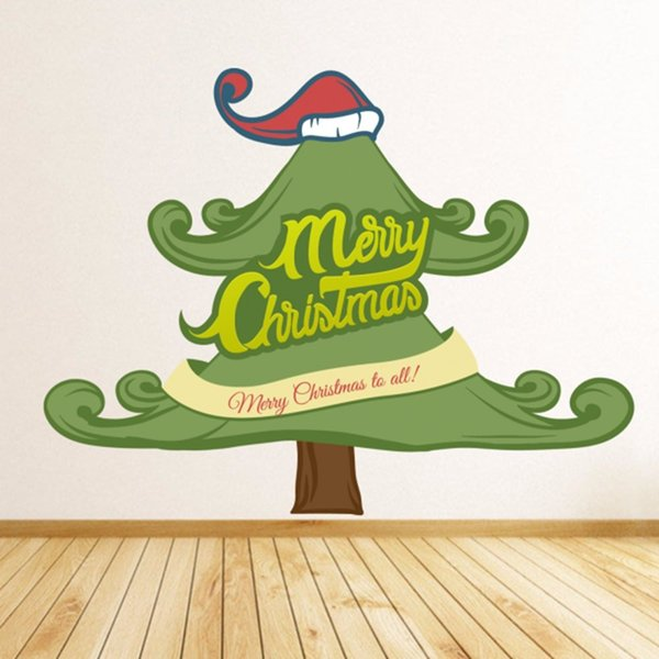 Dibujos De Navidad Creativos.Compre Dibujos Animados Creativos Arbol De Navidad Decoraciones De Navidad Feliz Navidad Ilustracion Etiqueta De Vinilo A Prueba De Agua De La Pared