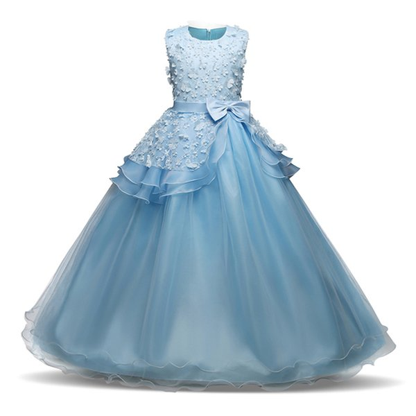 Compre Ropa Para Niñas 2018 Nuevo Desfile Vestido De Fiesta Largo Para Niños Arco Floral Vestido De Graduación Vestidos De Baile Blanco Traje De Boda