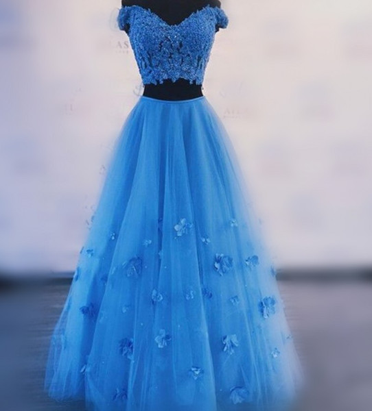 Two Pieces Homecoming Dresses Cheap Off The Shoulder Light Blue Cocktail Party Dress Handmade Appliques Tulle Cheap Prom Gowns A Line