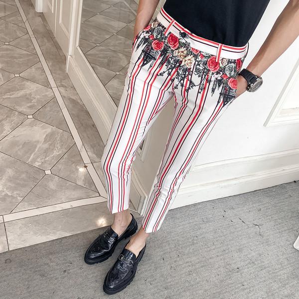 2019 summer men suit pants Men's printing business casual Dress pants Elastic Casual Men Ankle Length Trousers
