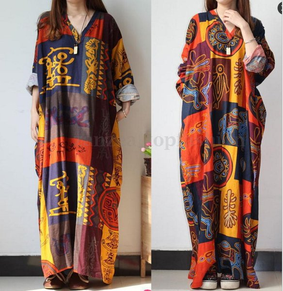 Hot sales women maxi dress new design large size v-neck long-sleeved printed women's summer dresses cotton womens clothes clothing