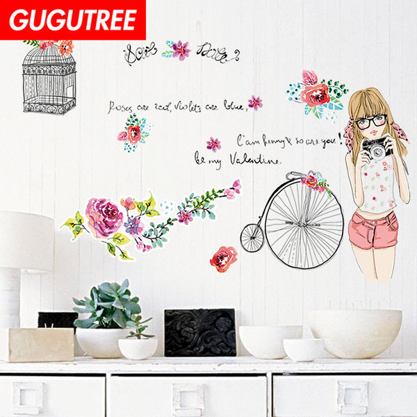 Decorate Home girls belle cartoon art wall sticker decoration Decals mural painting Removable Decor Wallpaper G-2311