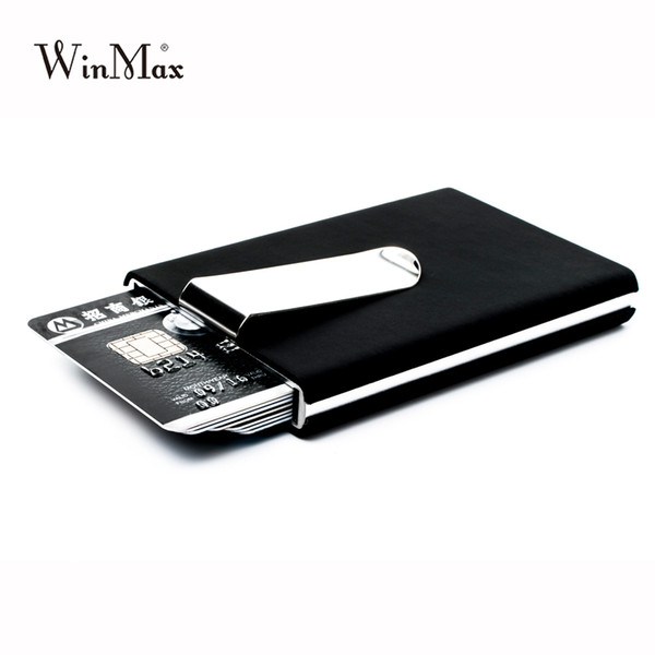 good quality Brand Black Quality Credit Card Holder Waterproof Cash Money Pocket Box Aluminum Business Men Id Card Holder Gift Wallets