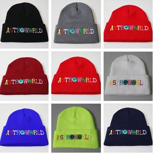 ASTROWORLD Skiing Beanie Embroidery Knit Cap Colorful Letters Astroworld Beanie Men Women Warm Winter Crochet Hats Outdoor Skull Caps B62902