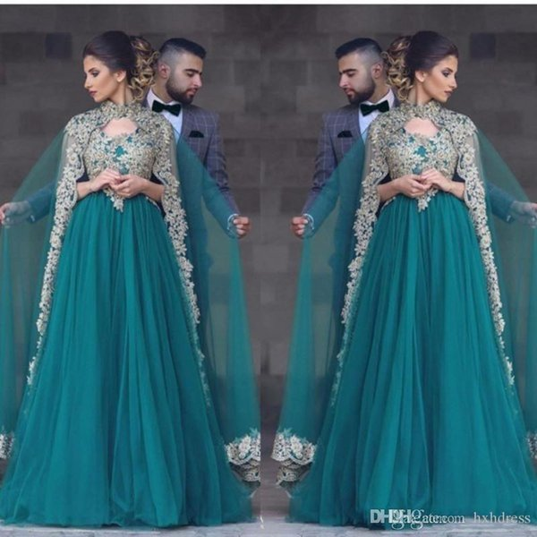 2019 New Teal Green Tulle Prom Dresses With Cape V Neck Lace Appliques Beaded Muslim Beaded Long Party Dress Plus Size Evening Gowns 324