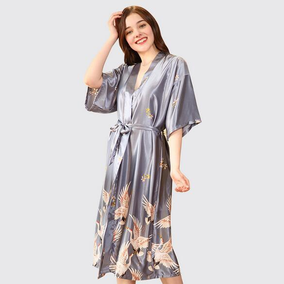New Style Ladies' Sexy Satin Robe Dress Gown Women Elegant Print Nightgowns Kimono Bathrobe Flower Nightdress Plus Size