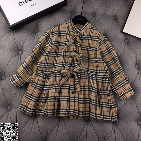 Girl dress casual play dress for girl high-end atmosphere, top quality, chest bow embellishment