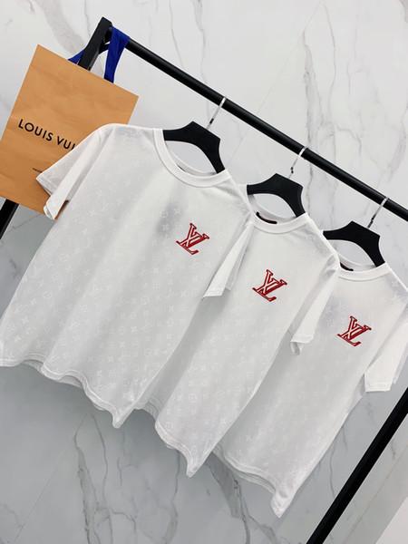 2019 Desinger Hommes Femmes T-shirts 2019 Eté Nouvelle Arrivée Tops Shirt pour Femmes Hommes Couple White Tee avec Marque Lettres Broderie Taille S-XL