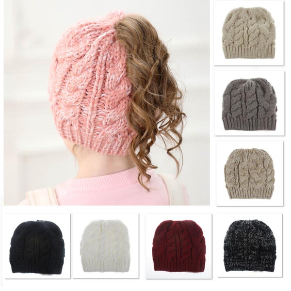 best selling Winter Baby Knit Cap Crochet Beanies Hats Adult Girls Pony Tail Caps Acrylic Warm Christmas Knitted Headgear Hat cap 8 Styles DHL XD21536