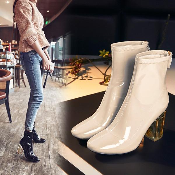 Venda quente-Top Design Marca Cor Nude Botas De Couro De Patente Para As Mulheres de Salto Alto Curto Ankle Boots Botas De Cristal Saltos Do Partido Transparente