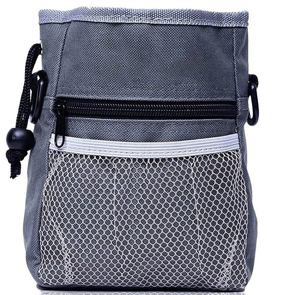 Cane trattare Training Pouch Trasporta facilmente Giocattoli Pet, Kibble, Treats Built-In Poop Bag Dispenser 3 modi di indossare Grey