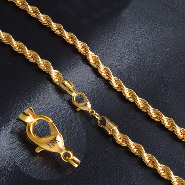 LETAPI 2019 Nuevo Collar con cadena de torcedura en color dorado punk de 6 mm para hombre