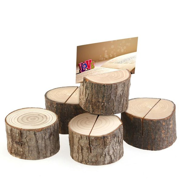 Tree stump craft place card holder Rustic style seat folder photo clip Wedding natural wooden decorate Cylindrical and semicircle zhao