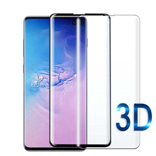 3D Curvy cubierta completa de vidrio templado para Samsung Galaxy S10 S10E S10E S10 + Protector de pantalla 9H sensible protector táctil táctil