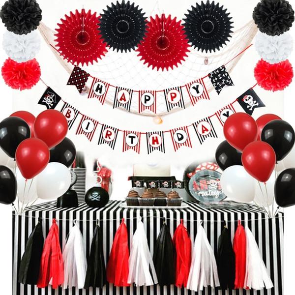 20pcs Siyah Kırmızı Korsan Teması Doğum Günü Partisi Dekorasyon Seti Doğdun Banner Kağıt Hayranları Latax Balonlar Püskül Garland SH190920