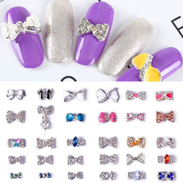 10pcs / pack Charms ongles 3d Bow noeud Glitter Or argent clair strass cristal alliage Bow Ties bricolage Nail Art Outils Décorations