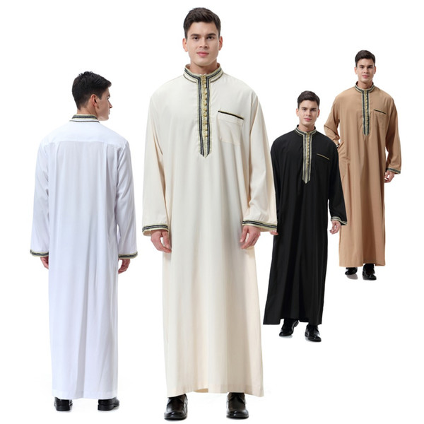 Top Verkaufen Arabische Kleidung Männer Lange Jubba Thobe Muslim Abaya Dubai Kaftan Plus Größe 2019 Neue Robe für Männer