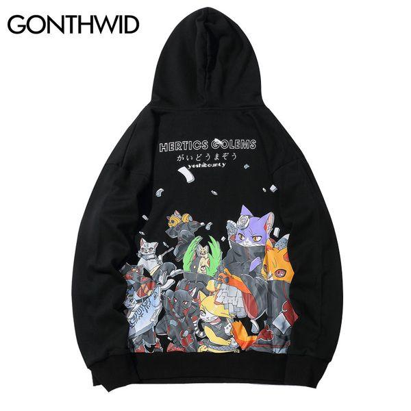 GONTHWID divertente ricamato giapponese Gatti Ninja Stampa con cappuccio Felpe con cappuccio 2019 Hip Hop Harajuku Pullover Streetwear
