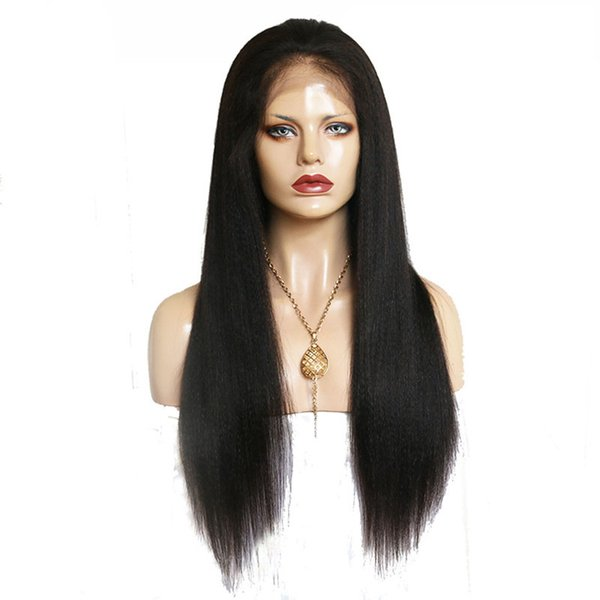 Malaysian human full lace hair wigs Yaki straight Pur plucked lace front human hair wigs with baby hair natural hairline for women