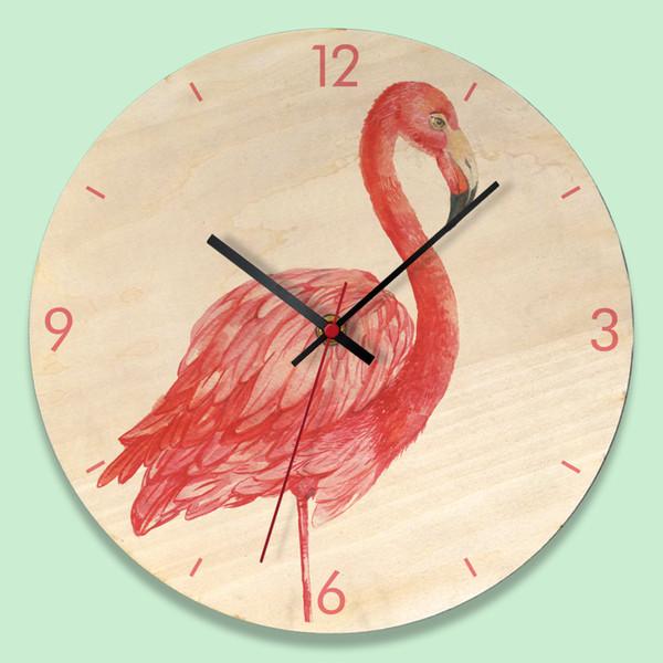 European Flamingo Wooden Home Clock Simple Creative Wall Clock Modern Design Kitchen Decorative Bedroom Quartz Round