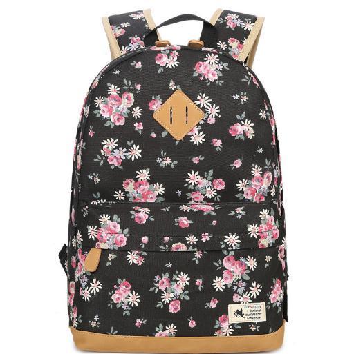 Moda-Yeni Moda Tuval Sırt Çantası Shoulderbag Kadın Küçük Kırık Çiçek Lise çanta Bilgisayar Açık Seyahat Paketi