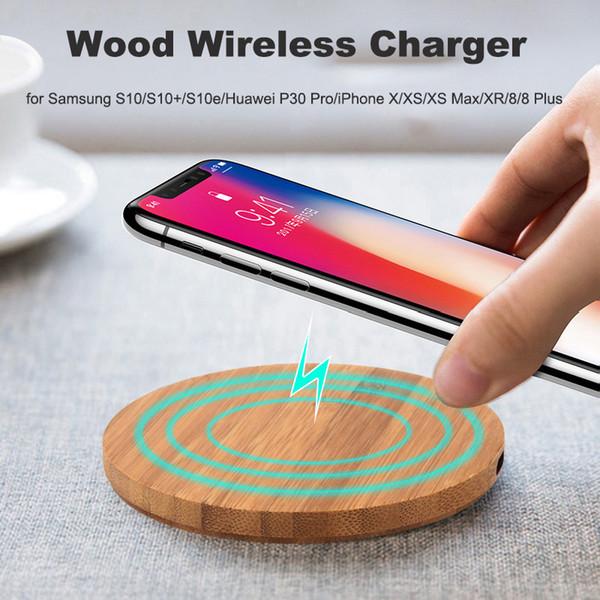 iPhone di legno di bambù Qi Wireless caricatore per 11 Pro X Xs Max 8 Samsung Galaxy Note 10 9 S10 Inoltre Desktop 10W di ricarica rapida Pad Mat