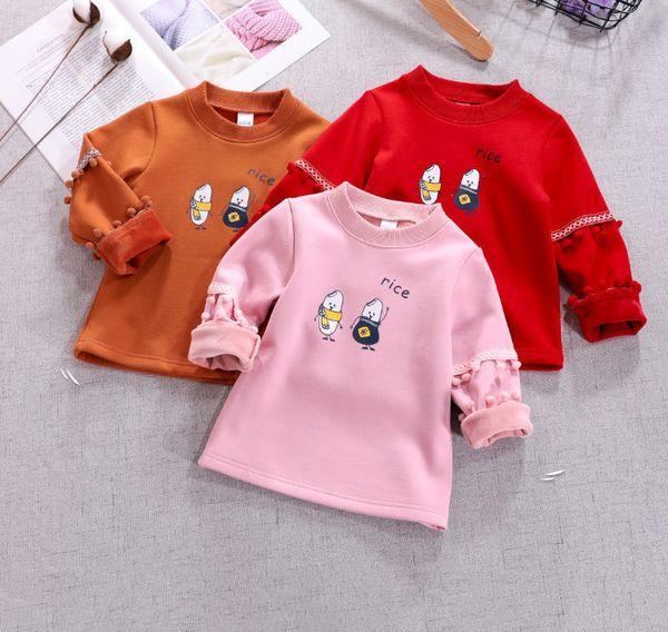 Cartoon Kids Tops Tees Girl Shirts Tassel Balls Full Sleeve Casual Cotton Top Shirts Winter Warm O Neck Sweatshirt Children Girls Clothes