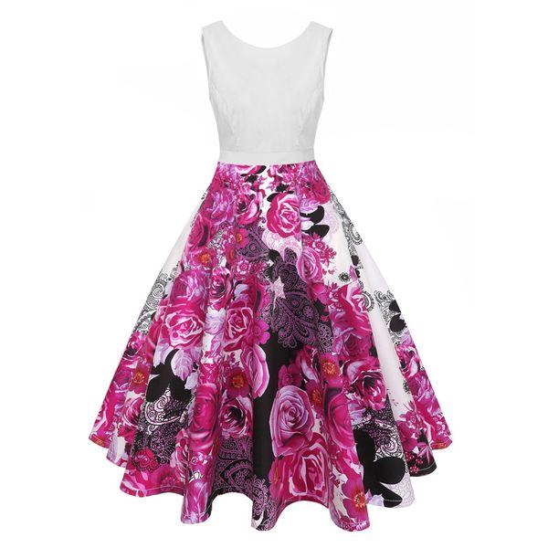 Sleeveless Floral Print Vintage Midi Dress Women White Elegant Tie a Bow Summer Dress Retro Party Backless Dresses 19SS