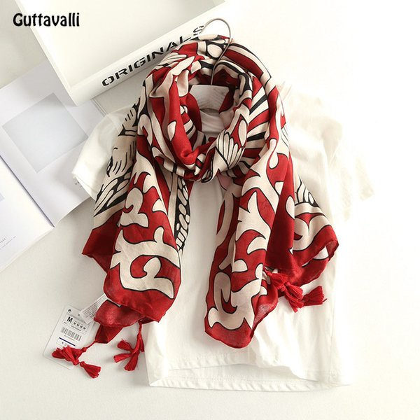 Guttavalli Women Lion Red Cotton Tassels Long Shawl Vintage Stripes Blue Chevron Scarf Soft Bohemia Geometric Animals Scarves
