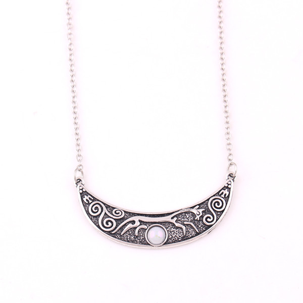 Deusa de prata antiga de giz cavalo de uffington pingente de cristal viking nórdico rune amuleto colar de corrente de ligação