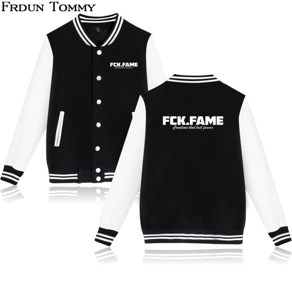 Frdun FCK.FAME V-neck Baseball Jacket Harajuku Fashion Pullover High Quality 2018 New Fashion Printed Jacket