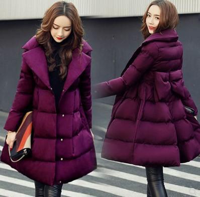 Nueva Llegada Venta Caliente Especial de Moda Versión Coreana Hada Hembra Invierno Sección Larga Púrpura Arco Algodón Virgen Más Terciopelo Abrigo de algodón