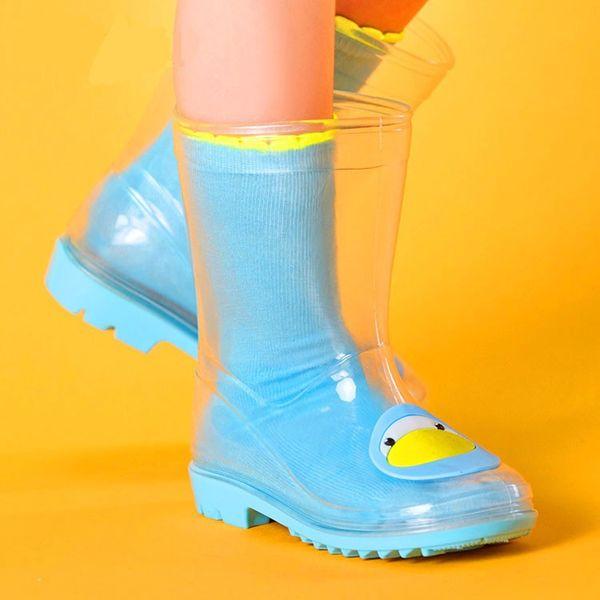 Hot Sale Transparent Rain Boots Kids Boys Girls Babies Cat Chick Penguins Toddle Cute Slip Shoe 2016 New kinderen regenlaarzen Rubber Ashion