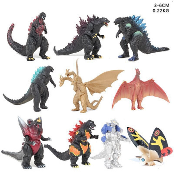 best selling 10 pcs set 3-6cm Godzilla Action Figures Second generation Dinosaur Monsters figures PVC 3-6CM Children kids toy 1x by hope13