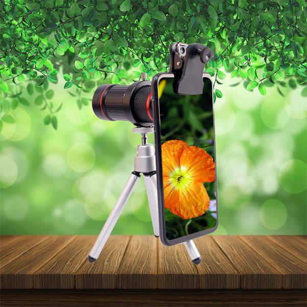 New 18X Zoom Mobile Phone Lens HD Phone Monocular with Triangular Aluminum Bracket External Lens