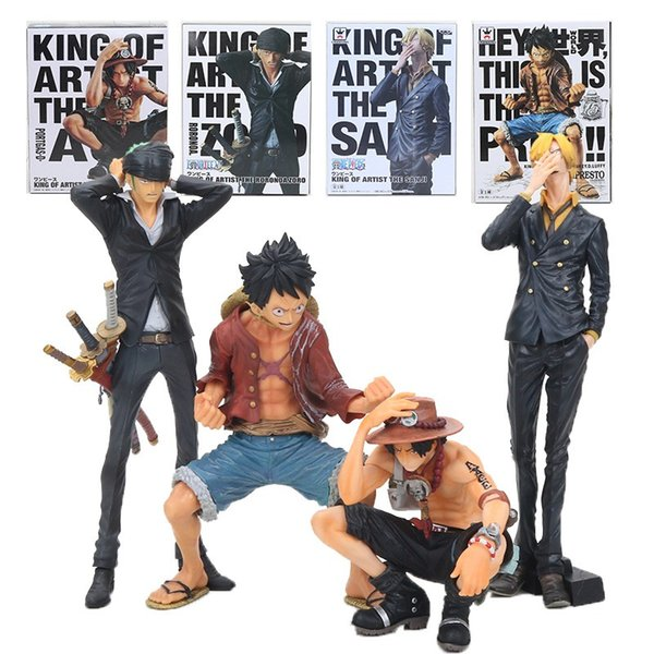 2019 15 25cm Anime One Piece Monkey D Luffy Ace King Of Artist Roronoa Zoro Sanji Brinquedos Action Figure Model Toys Christmas Gifts From