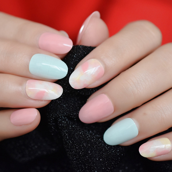 Acheter Ongles En Acrylique De Style Japonais Clouds Brillants Multicolores  En Marbre Flase Nails Trempent Dans Le Gel UV Vernis À Ongles Kit 24