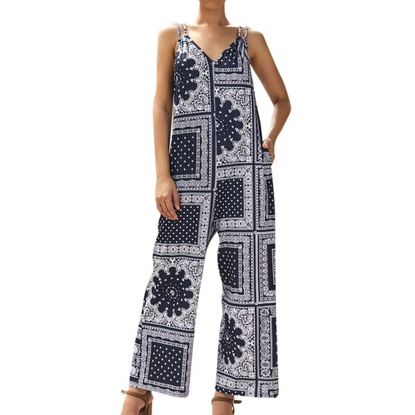 CHAMSGEND Summer New Women Jumpsuit Casual Bow Off Shoulder Multi-Color sin tirantes de pierna ancha Jumpsuit Loose Print May13
