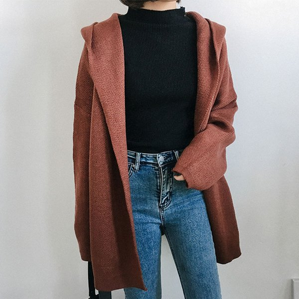 Thicken Hooded Knit Cardigan Sweater Coats Women Mid-Long Section Solid Loose Office Lady Long Sleeve Pocket Ladies Knit Tops