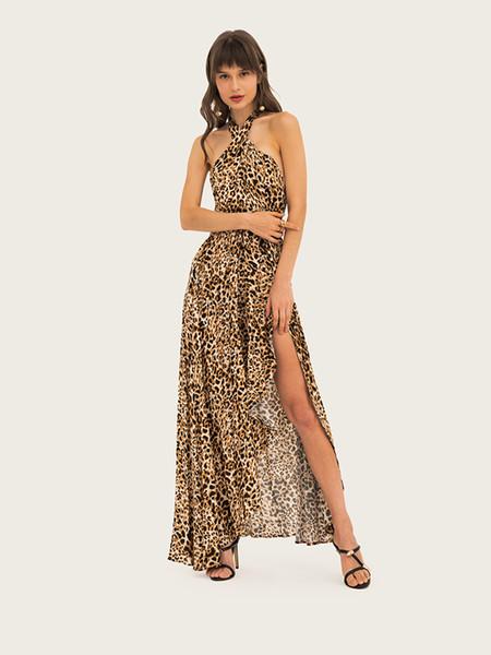 New Summer Long Dress for Women Leopard Printed Women Sexy Dresses Criss-cross Split Halter Maxi Dresses Holiday Style S-2XL Size